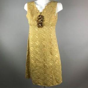Vtg 60s Gold Sleeveless Lace Sheath Dress Scallop
